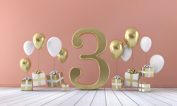 Number 3 birthday party composition with balloons and gift boxes. 3D Rendering