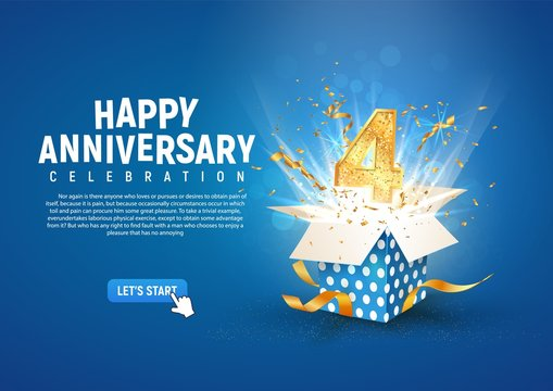 4 th year anniversary banner with open burst gift box. Template fourth birthday celebration and abstract text on blue background vector illustration