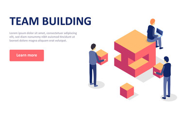 Team building concept isometric vector illustartion on white background. Landing page template. Perfect for web design with characters flat isometric.