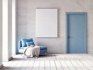 Mock up poster, Minimalism living room with comfortable sofa, 3d render, 3d illustration