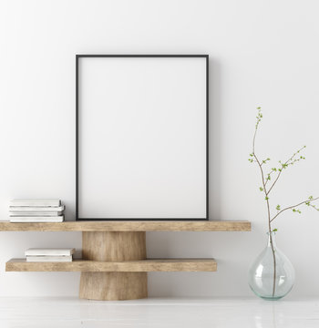 Mock up poster on wooden bench with branch in vase, 3D render