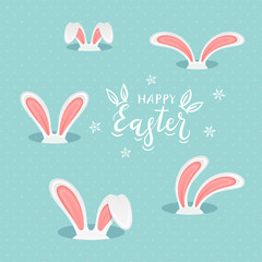 Lettering Happy Easter with Rabbit Ears on Blue Background