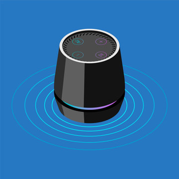 Smart speaker with voice recognition. Isometric vector icon.
