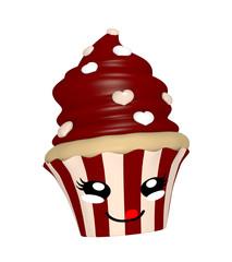 niedlicher Schokoladen Cupcake mit lachendem Gesicht im Kawaii Stil.