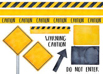 Collection of various warning signs, seamless caution tapes, text messages and attension symbols. Bright yellow and dark black colors. Handdrawn watercolour on white, cutout clipart design elements. Wall mural