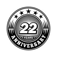 22 years anniversary. Anniversary logo design. Vector and illustration.
