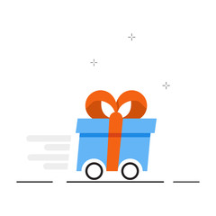 Vector gift delivery image. Fast delivery of gifts. Vector illustration