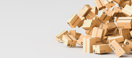 Cardboard boxes with empty space on left side, logistics and delivery concept. 3D Rendering