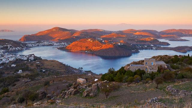 View of Skala village on Patmos island in Greece.