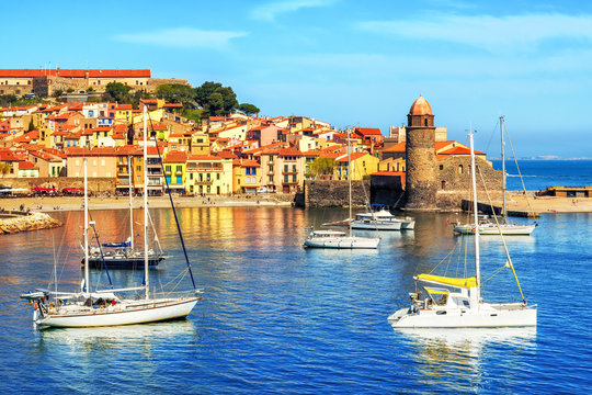 Collioure, France, a popular resort town on Mediterranean sea