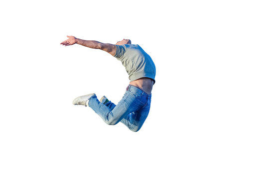 young athletic man jumping isolated on white background