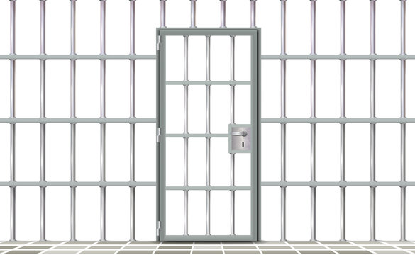 Realistic background prison iron interior. Gray door jail cells bars modern. Banner vector detailed illustration metal lattice. Detention centre metallic. Isolated way, freedom concept grid, jail