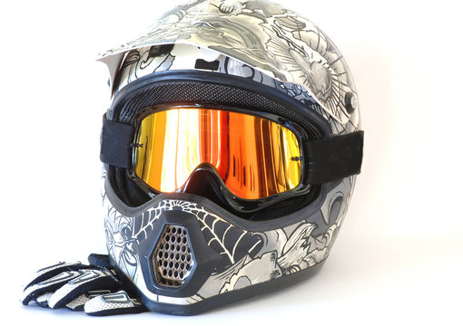 Motocross Helmet and Goggles and Gloves with copy space