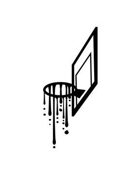 basketball graffiti tropfen schleim basketballkorb cool treffer tor im netz korb werfen spielen verein spaß sport stange club team crew spiel fan trikot clipart design