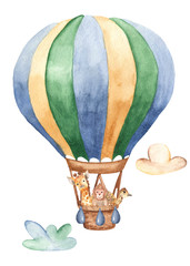 Watercolor card with a balloon and cute animals. Great for baby showers, cards, invitations, baby design and clothes.