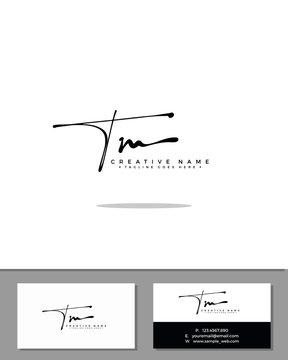 T M TM initial handwriting logo template vector.  signature logo concept