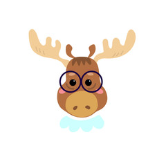 Cute cartoon character. Stylish moose in glasses. Cool picture is great for children's products: clothes, textiles, postcards, stationery products and other things. Vector illustration.