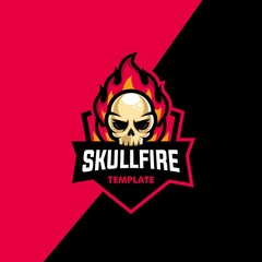 Skull Fire Sport Concept illustration vector Design template