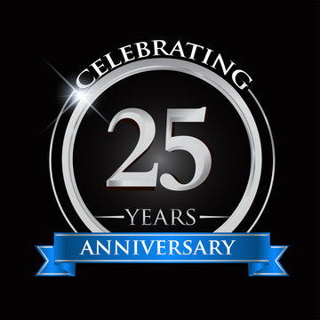 Celebrating 25 years anniversary logo. with silver ring and blue ribbon.
