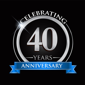 Celebrating 40 years anniversary logo. with silver ring and blue ribbon.