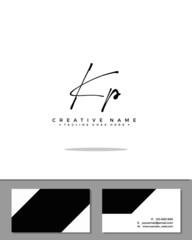 K P KP initial handwriting logo template vector.  signature logo concept