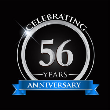Celebrating 56 years anniversary logo. with silver ring and blue ribbon.