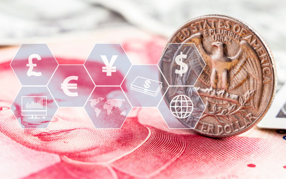 US dollar coin and china yuan bills banknote with icon virtual. The concept of currency exchange can be used worldwide, financial or world trade.