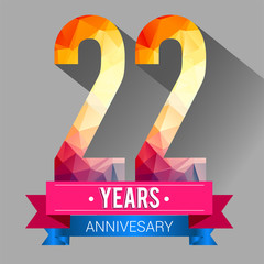 22 Years Anniversary logo. with colorful polygonal design elements.