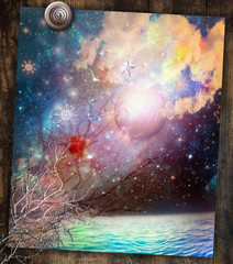 Spoed Fotobehang Imagination Seaside with starry night
