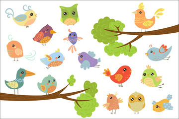 Wall Mural - Cute bird characters set, cute colorful cartoon birds flying, singing, sitting on the branch vector Illustrations on a white background