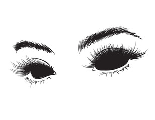 Demonic black eyes without a pupil. Sketch of scary female eyes on a white background.