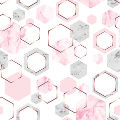 Seamless abstract geometric pattern with rose gold, pink and gray marble hexagons on white background