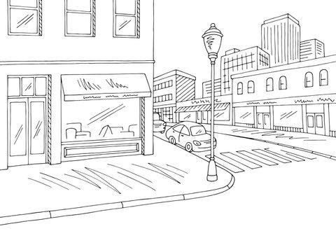 Street road graphic black white crossroad city landscape sketch illustration vector