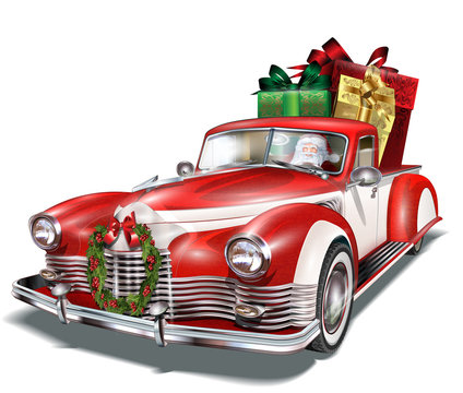 Pickup truck with gift box in the trunk.