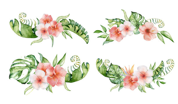 Tropical set watercolor flowers and leaves. Exotic bouquet isolated on white background.