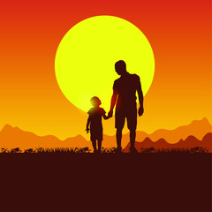 Concept of father and son camping. Summer travel with a child. Silhouette of people on the sun background. Spring family picnic trip. Nature, mountains, hills and sunset.
