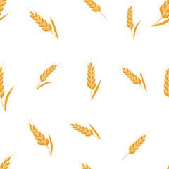 Wheat spike seamless background. Organic Ear grain textured pattern textile. Flat Vector illustration.