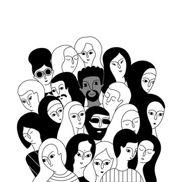 A multicultural group of women and men.