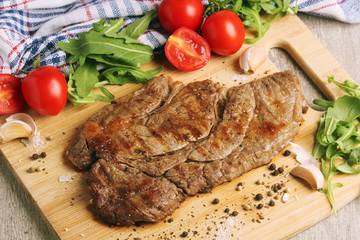 Canvas Prints A beef steak well done with vegetables
