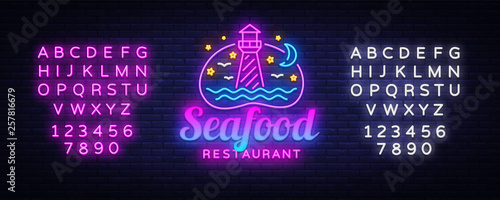 Seafood Neon signs set Vector  Seafood Menu neon sign