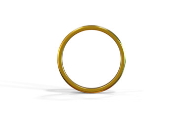 Golden wedding ring on isolated white background symbolising marriage, love, relationships, proposals, valentine's day, and engagement, 3d illustration