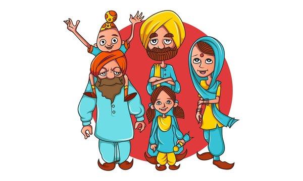 Vector cartoon illustration of punjabi farmer family. Isolated on white background.