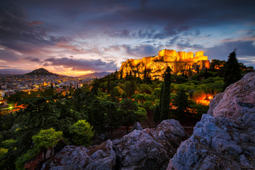 Acropolis and view of Athens from Areopagus hill, Greece.