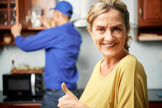 Woman satisfied home services