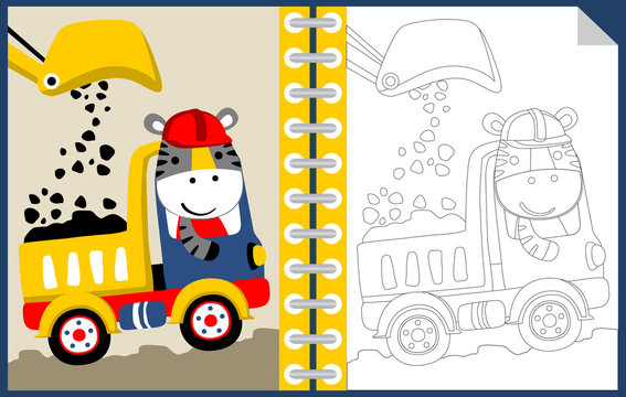 work zone with funny worker cartoon, coloring book or page