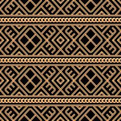 Modèle sans couture d& 39 ornement géométrique chaîne en or sur fond noir. Illustration vectorielle