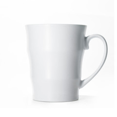White porcelain mug isolated on white background, mock up