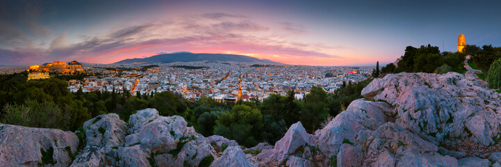 View of Acropolis from Filopappou hill at sunrise, Greece.  Wall mural