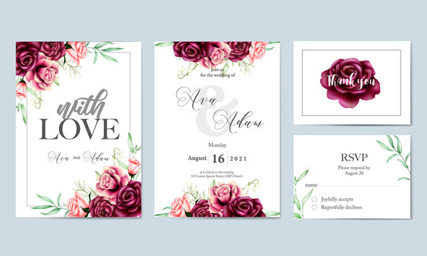 beautiful watercolor floral leaves wedding invitation card template