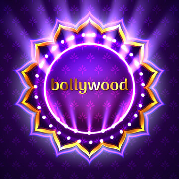Vector illustration of Indian bollywood cinema sign board, neon illuminated banner with golden logo on violet background